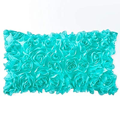 MIULEE 3D Decorative Romantic Stereo Chiffon Rose Flower Pillow Cover Solid Square Pillowcase for Sofa Bedroom Car