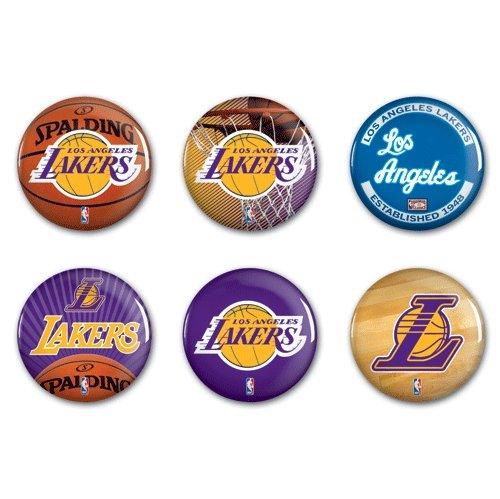 "Offizielle NBA \""Los Angeles Lakers\"" Button, Anstecker, Pins als 6er Set"