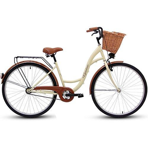 Polbaby Goetze Eco Cream 28 Zoll Fahrrad Citybike Stadtrad Retro Braun - Weidenkorb
