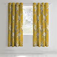 Catherine Lansfield Canterbury Black Out Eyelet Curtains Ochre 66x72 Inch