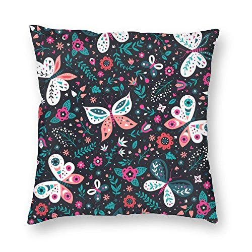 Moily Fayshow Throw Pillow Decorative Cushion Cover Pillowcase Colorful Folk Flowers Pattern 40 X 40 Cm