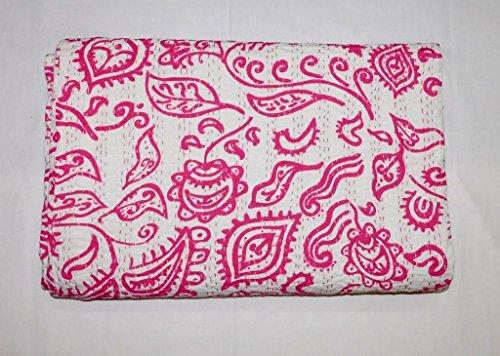 Kiara Indische handgemachte Quilts Baumwolle Blumendruck Paisley Muster wendbar Kantha Tagesdecken und Decken Stich Überwurf Twin Size/Queen Size (Barbie Pink, Queen)