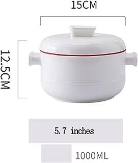 Ceramic instant noodle bowl with handle noodle bowl mala Tang soup bowl salad bowl (Color : Red)