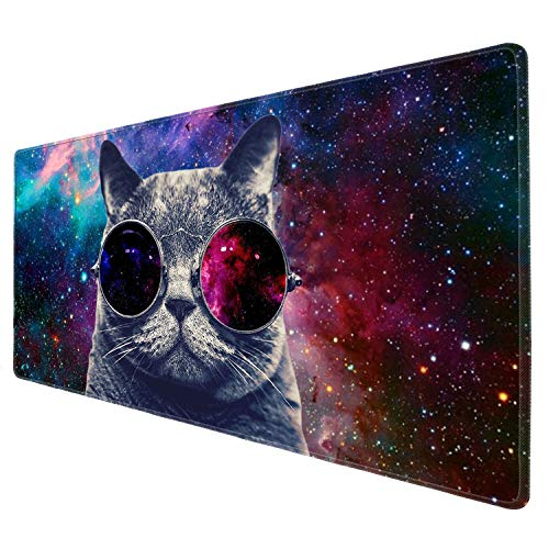 Large Mouse Pad POKABOO Big XXL Custom Glasses Cat Computer Game Mouse Mat Desk Pad Keyboard Mat for Laptop Work & Gaming& Office & Home (31.5×11.8×0.15 inch)