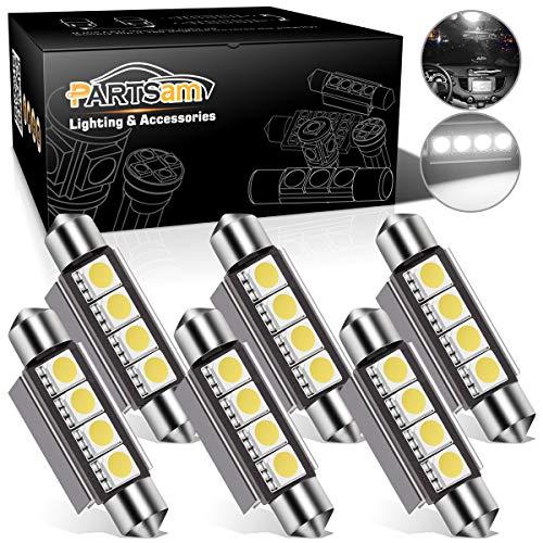 Partsam 42mm Festoon LED Light Bulbs Error Free LED Interior Lights Dome Lights Bulbs 211-2 578 569 Festoon LED Bulb - White (6 Pcs)