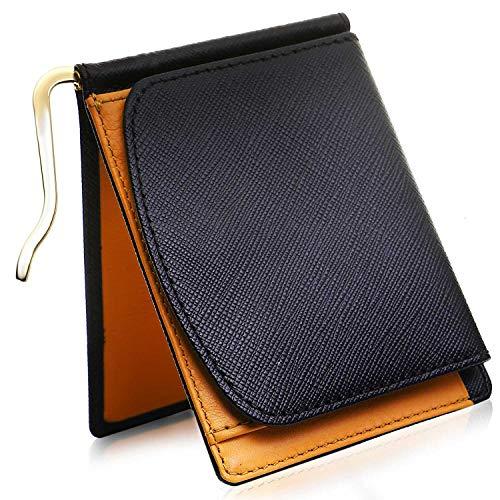 Kohdou マネークリップ 小銭入れ付き 最高級サフィアーノレザー 本革 財布 二つ折り 薄い メンズ (レッド)