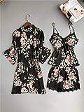 XFLOWR Albornoces de Seda de satén Floral Fresco Albornoces de Kimono para Mujeres Batas de baño de Flores Rosadas delicadas Inicio Albornoces XL Conjuntos de batas55