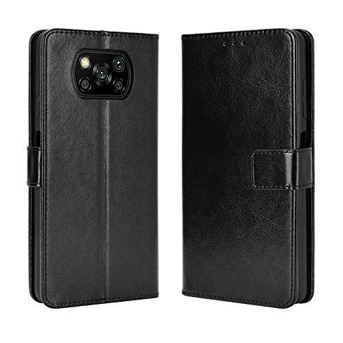 BaiFu Lederhülle für Xiaomi Poco X3 NFC Hülle, Flip Hülle Schutzhülle Handy mit Kartenfach Stand & Magnet Funktion als Brieftasche, Tasche Cover Etui Handyhülle für Xiaomi Poco X3 NFC, Schwarz