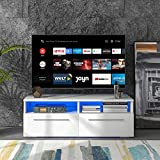 DADEA TV-Einheit mit 2 Schränken, TV Board Lowboard, Unterschrank, Sideboard Media Board, Fernsehschrank, inkl 16 Bunte Automatischer Wechsel LED-Leuchten, 55-Zoll