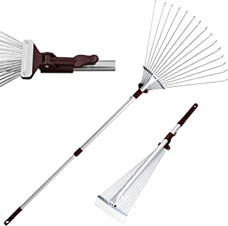 Winslow&Ross Telescopic Metal Rake 63 Inch Adjustable, Garden Leaf Rake for Quick Clean Up of Lawn and Yard - Perfect for ...