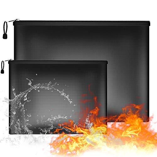 Bolsa de documentos ignífuga, 2 bolsas de almacenamiento seguras a prueba de fuego e impermeables,bolsa organizadora con cremallera para proteger objetos de valor, pasaporte, documentos, dinero, joyas