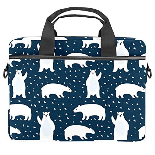 Patrón con osos polares lindos bolsos para ordenador portátil 13.4-14.5-pulgadas de negocios hombro correa extraíble Satchel caso portátil maletín