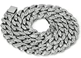 Mens Iced Out Hip Hop Silver or Gold Tone CZ Miami Cuban Link Chain 16' 18' 20' 24'Choker Necklace
