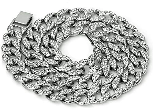 Mens Iced Out Hip Hop Silver or Gold Tone CZ Miami Cuban Link Chain 16  18  20  24 Choker Necklace