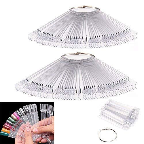 Ardisle - 2confezioni da 50bastoncini trasparenti per presentazione unghie finte, disposizione a ventaglio, per fare pratica con gli smalti, gel, acrilici, strumento per tirocinanti di nail art