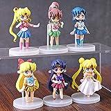 KIJIGHG 6 Piezas Sailor Moon Mizuno Ami Kino Makoto Minako Aino Mini Figura de Anime Figuras de acci...
