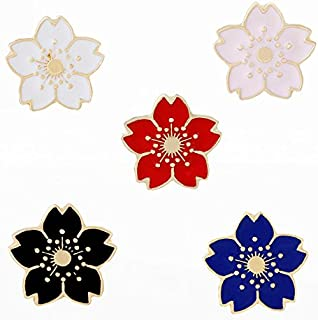 Cherry Blossom Sakura Lapel Pins Brooch Badge Pins Clothing Bag Decor 5pcs