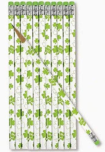 24 pc St Patrick's day SHAMROCK Pencils - party favors and prizes - 2 dz per order