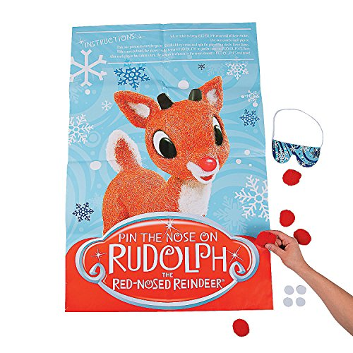 Fun Express - Pin The Nose On Rudolph Game for Christmas - Toys - Games - Pin The & Bulls Eye Games - Christmas - 11 Pieces