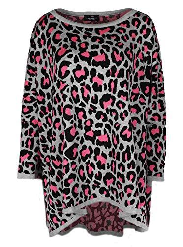 Zwillingsherz Poncho mit Baumwolle im Leo Design - Hochwertiges Cape für Damen Mädchen - XXL Umhängetuch und Tunika - Strick-Pullover - Sweatshirt - Stola für Frühjahr Sommer Herbst und Winter - gra/p