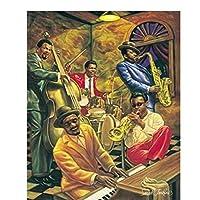 アフリカ系アメリカ人のクールジャズスター油絵ポスタープリントキャンバスの壁の写真ホームルームの装飾60x80cmフレームなし