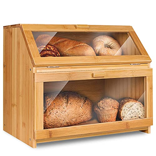 FZFHSJ Bread Box for Kitchen Countertop Extra Large Double Compartment Bread Holder with Clear Window (Self-Assembly)