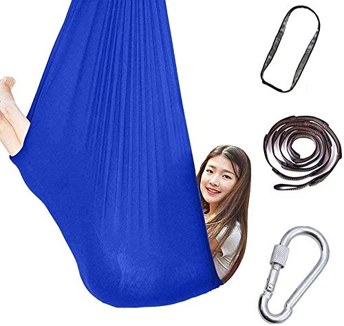 Juego de hamacas de yoga aéreo Hamaca de abrazo de abrazo de algodón para niños para autismo ADHD Añadir paquetes elásticos Sillón de swing de asiento estable grande para hamacas de integración sensor