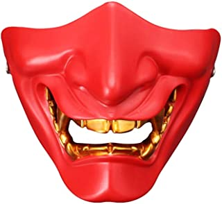 Halloween Mask Cosplay White Ghost Head Half Face Resin Mask/Half Face Mask/Lower Face Protective Mask/CS Game happyL (Color : Red)