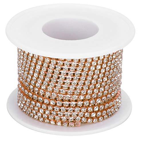 Borde de cadena de cierre de diamantes de imitación de cristal de 2,5 mm, cadena de garra de corte de 10 yardas, cadena de tiras de diamantes de imitación para ropa para manualidades de costura(oro)