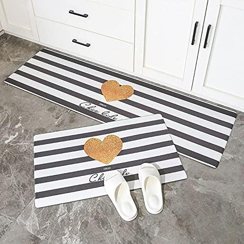 HLXX Alfombra de cocina estilo mármol larga tira entrada Felpudo dormitorio piso pasillo alfombra antideslizante absorbente agua A5 40 x 60 cm