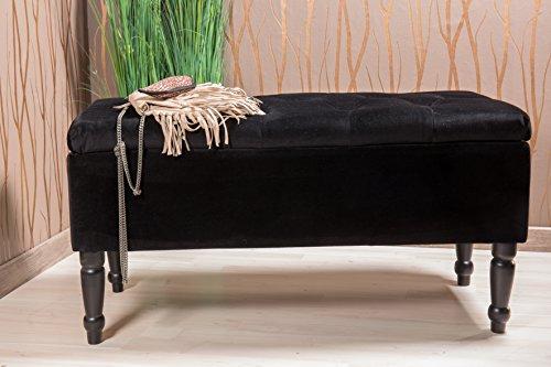 Sitztruhe schwarz mit Beinen, Fichten- und Birkenholz, 80cm - 2