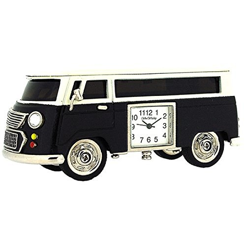 Miniature Black Camper Van - Caravan Novelty Desktop Collectors Clock 9710B by Widdop Bingham