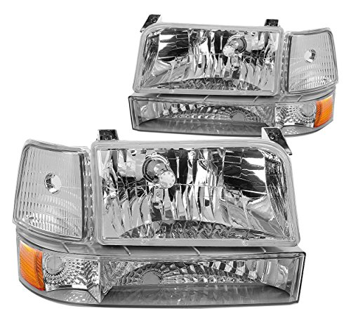DNA Motoring HL-OH-F15092-6P-CH-AM Chrome Amber Headlights Replacement For 92-96 Bronco F150 F250 F350