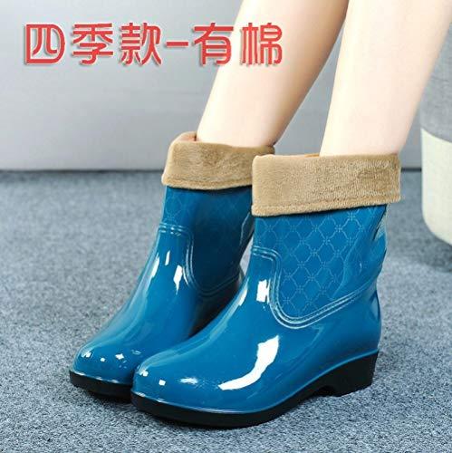 Dames-regenlaarzen, Koreaanse versie van de korte slang, blauw, warm hemd, waterdicht, antislip, wellibob, eenvoudige retro-laarzen