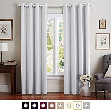 Room Darkening Curtains for Bedroom 84 inches Long Moderate Blackout Window Curtain Panels for Living Room Thermal Insulated Grommet Top Triple Weave Drapes, 1 Panel, Greyish White