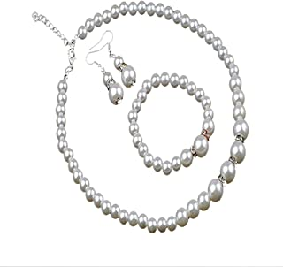 Best pearl and crystal necklace bracelet and earrings set Reviews