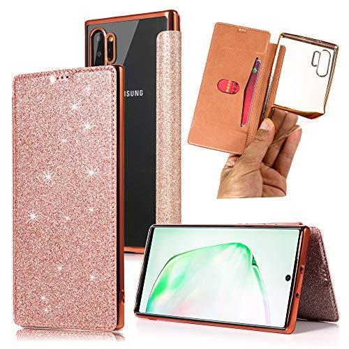 Miagon Glitzer Ledertasche Hülle für Samsung Galaxy Note 10,Weich Zurück Handyhülle mit Funkeln Bling PU Leder Klapphülle Schutzhülle im Bookstyle Wallet Flip Cover Etui
