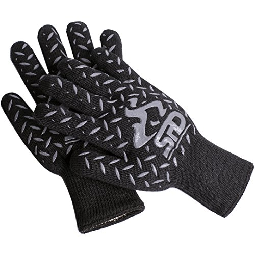 SPD Cooking Gloves Heat Resistant 932°F Extreme High Heat BBQ Grill Gloves Temperature Protection, Oven Mitts, Welders Kevlar Aramid Oven Gloves, Big Green Egg Grill Mitts (One Size, Black)