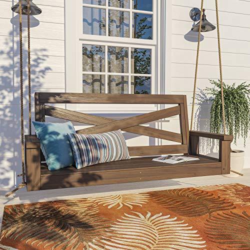Porchgate Amish Heavy Duty 700 Lb Boardwalk Porch Swing W/ Ropes (5 Foot, Warm Walnut Stain)