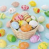 LRIO 6 Estilo Aleatorio Huevo de Pascua Adorno,Decoraciones de Pascua,Huevos de Pascua Decorados con Manualidades de Arcoiris, Huevos Colgantes de Plástico con Cuerda, para decoración y Regalos