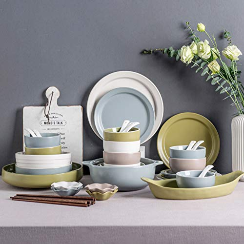 Juegos de vajilla de cerámica de 46 piezas, servicio para 10, juegos de platos de cocina resistentes a las astillas, platos y cuencos grandes para la cena, ensalada, postre