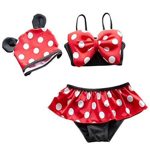 Jastore 3pcs Baby Girls Swimwear Cute Polka Dots Bikini Set Swimsuit (M/3-4T) Red