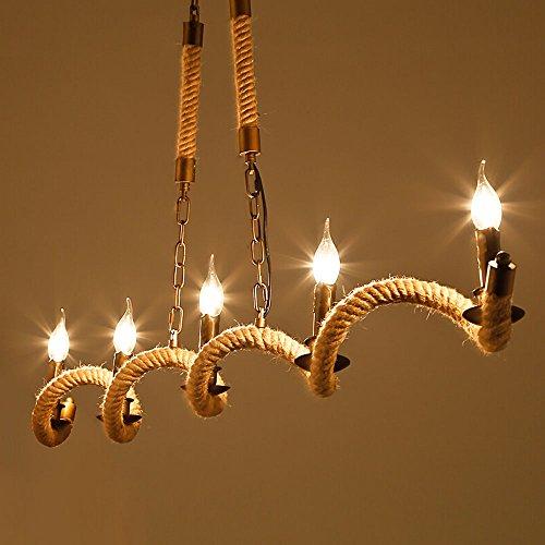 3 Köpfe / 5 Köpfe Seil Kronleuchter LOFT Amerikanische Land Industrie Retro Kreative Lichter Deckenleuchten Kaffee Bars Bars Eisen Seil Pendelleuchte (größe : B)