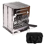 CAMPMAX Portable Folding Wood Stove Backpacking for Outdoor Camping Hiking Cooking Picnic, Sturdy Steel Lightweight Wood Burning Camp Stove with Grill, Large