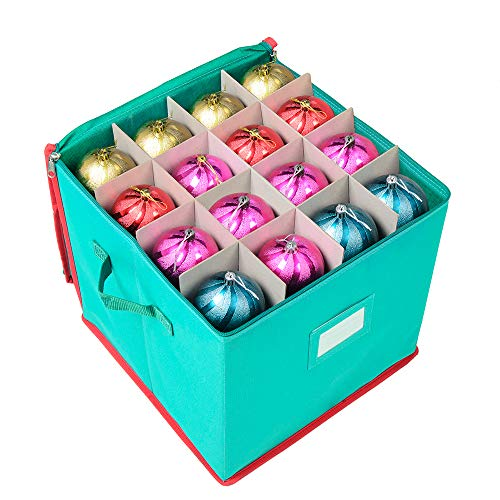 "Joiedomi Christmas Ornament Storage Box with Adjustable Dividers, Hold Up to 64 Ornaments Balls (13"" x 13"" x 13.5"")"