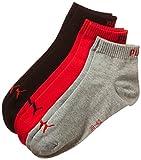 Puma Erwachsene Sportsocke Quarter 3P, Mehrfarbig (Black,Grey,Red ), 43-46, 251015