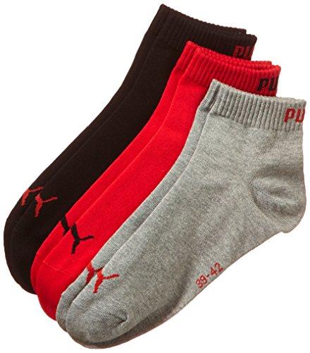 Puma Erwachsene Sportsocke Quarter 3P, Mehrfarbig (Black,Grey,Red ), 39-42, 251015