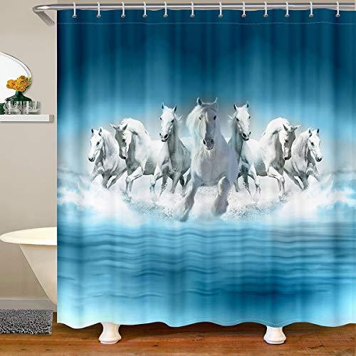 Pferd Wasserdichtes Duschvorhang Textil Galoppierendes Pferd Bedruckter Stoff Duschvorhang 180x200 Laufpferd Blau Tie Dye Gradient Streifen Badezimmer Dekor