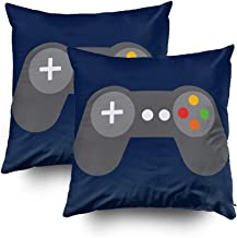 Musesh Pack of 2 Blue Video Games Controller Lumbar Cushions Case Throw Pillow Cover for Sofa Home Decorative Pillowslip Gift Ideas Household Pillowcase Zippered Pillow Covers 16x16Inch