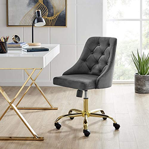 Modway Distinct Tufted Swivel Performance Velvet Office Chair, Gold Gray